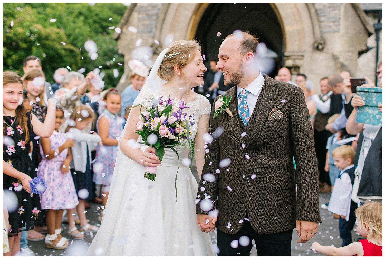 bride,church,confetti,east horton wedding,groom,hampshire wedding photographer,winchester wedding photographer,