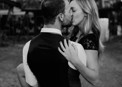 engagement photo black and white couple kissing